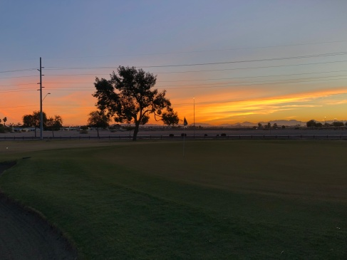 1st green at sunrise.