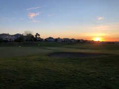 Side view of 2nd green catching the sunrise.