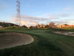 Closer view of 3rd green/bunkers.