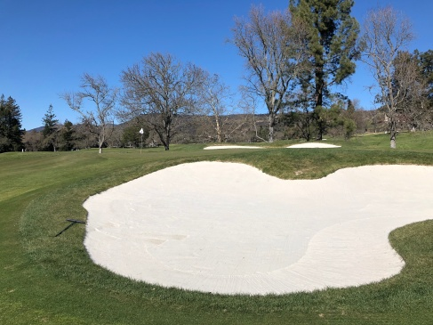 14th green, showing off one of many huge bunkers on the course.