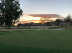 6th greenside with beautiful sunrise.
