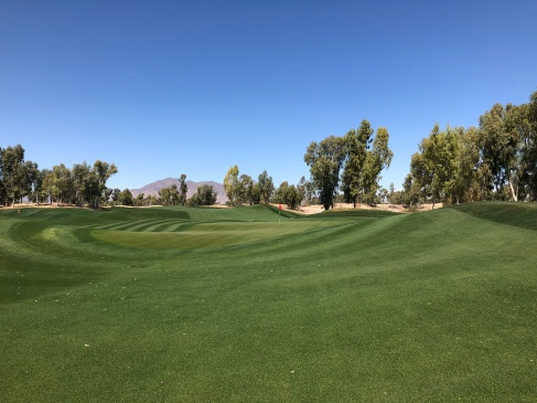 View of 9th green from by the practice putting green.