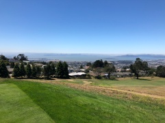 Another excellent view from the back tees on the 13th hole, showing the city, Golden Gate and so much of the bay in the distance.