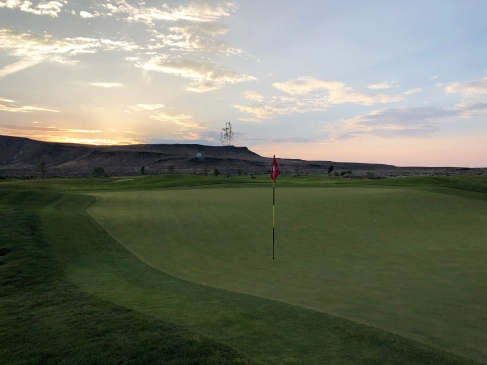 Side view of 1st green at sunrise.