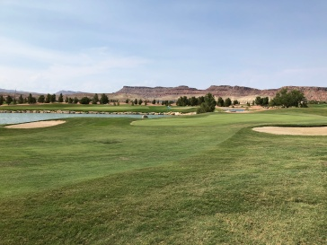 Side view of 17th green with 7th green across the water.
