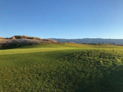 Side view of 1st green in the morning light.