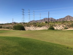Side view of 3rd green. Lovely power line views!