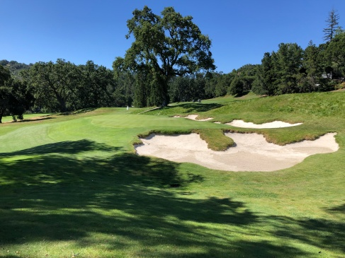 Closer view of 8th green and bunkers.