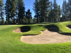 Side view of 9th green and evil bunkers.